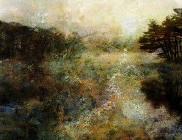 dusk forest - impressionist painting stock photos and pictures