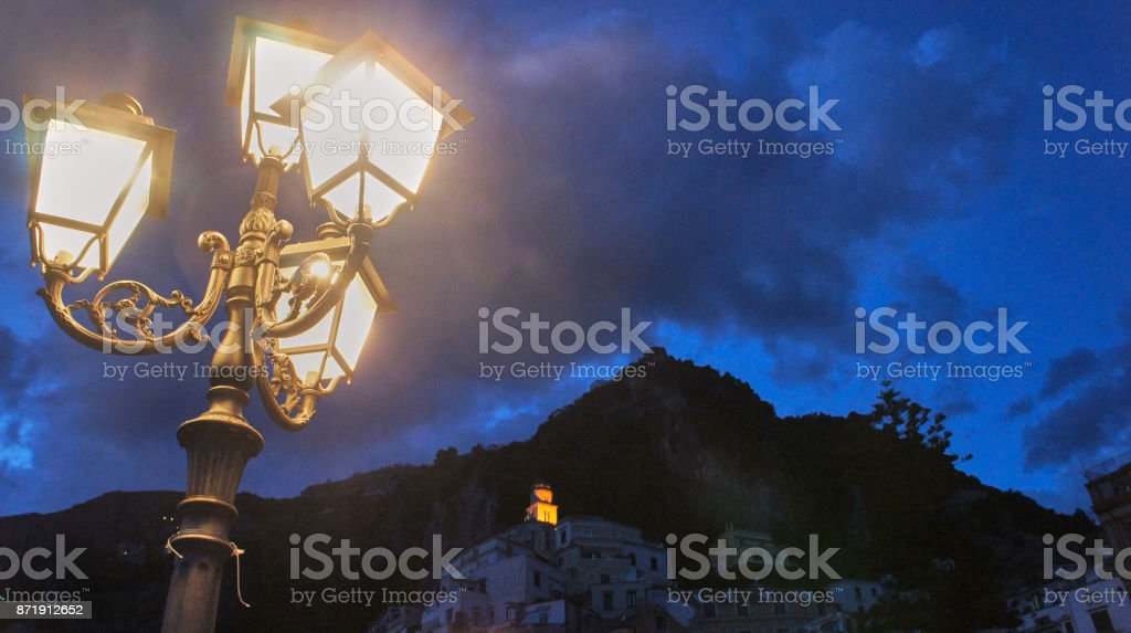 Dusk in Almalfi stock photo