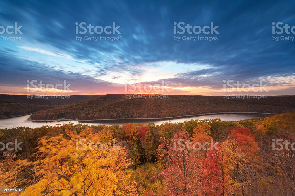 Dusk in Autumn stock photo