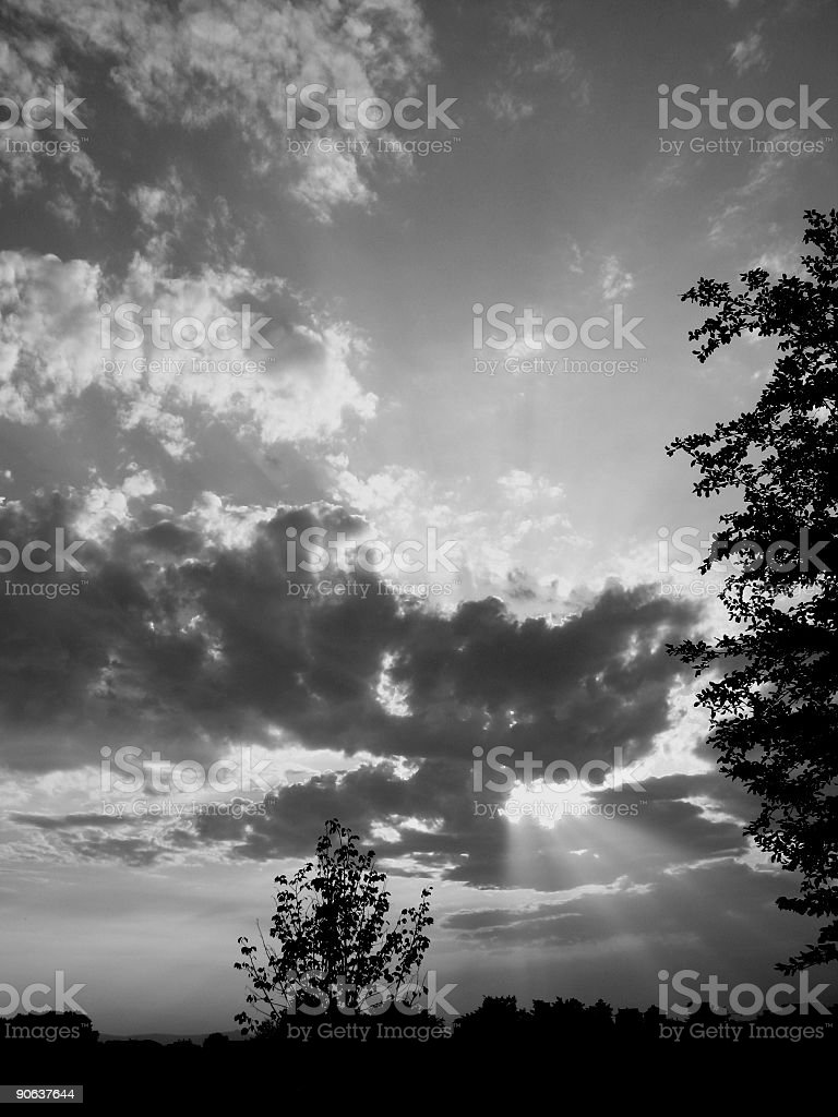 dusk in black and white stock photo