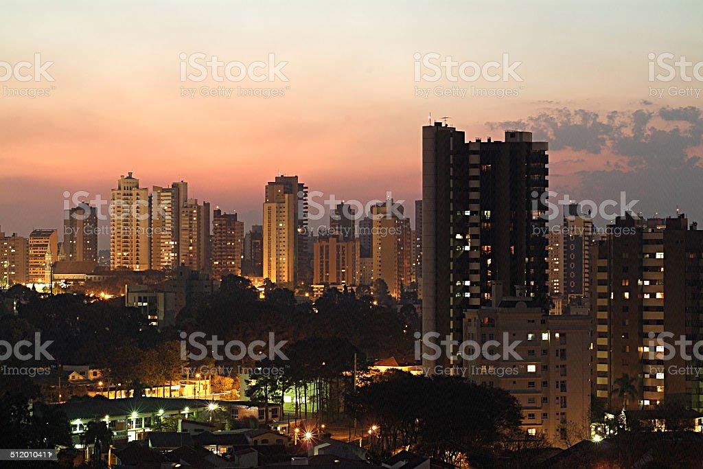 Dusk in Curitiba  Paraná Brazil stock photo
