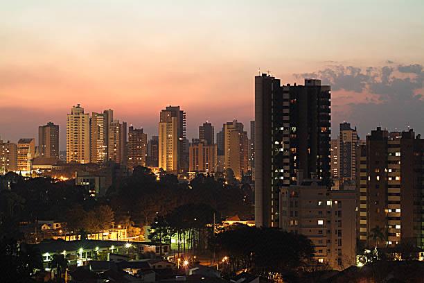 dusk in curitiba  paraná brazil - curitiba stock photos and pictures