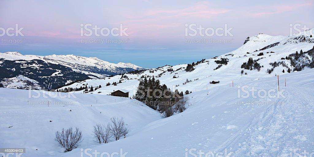 Dusk in Obersaxen Ski Resort stock photo
