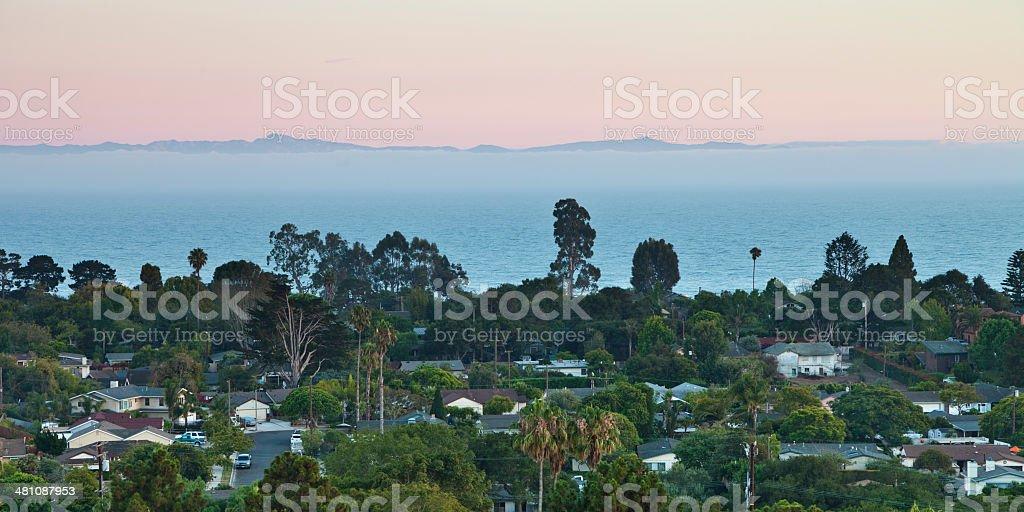 Dusk in Santa Barbara stock photo