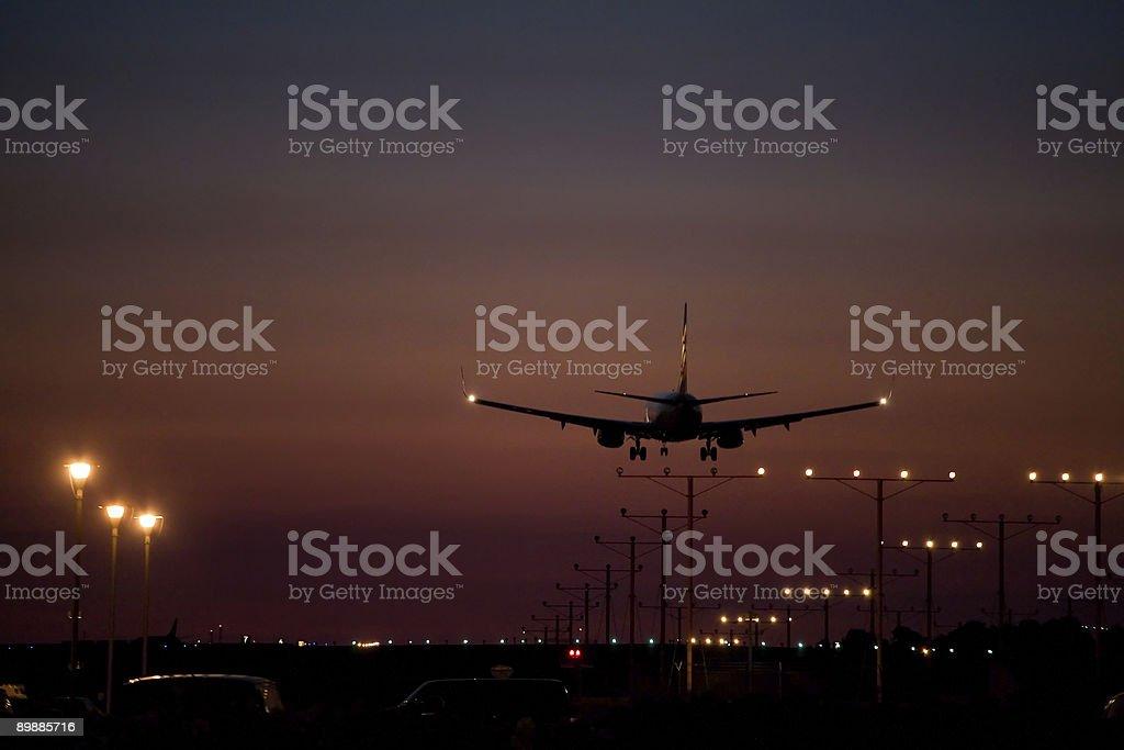 Dusk Jet Landing royalty-free stock photo