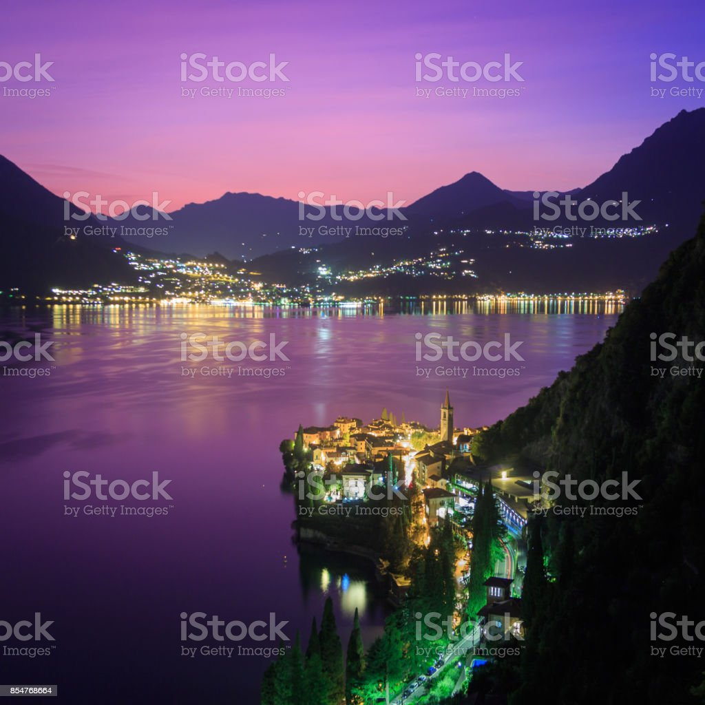 Dusk looking over Varenna on Lake Como, Italy stock photo
