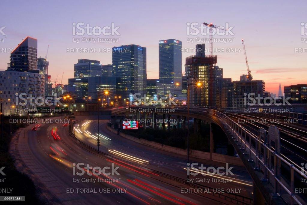 Dusk looking towards Canary Wharf, London stock photo