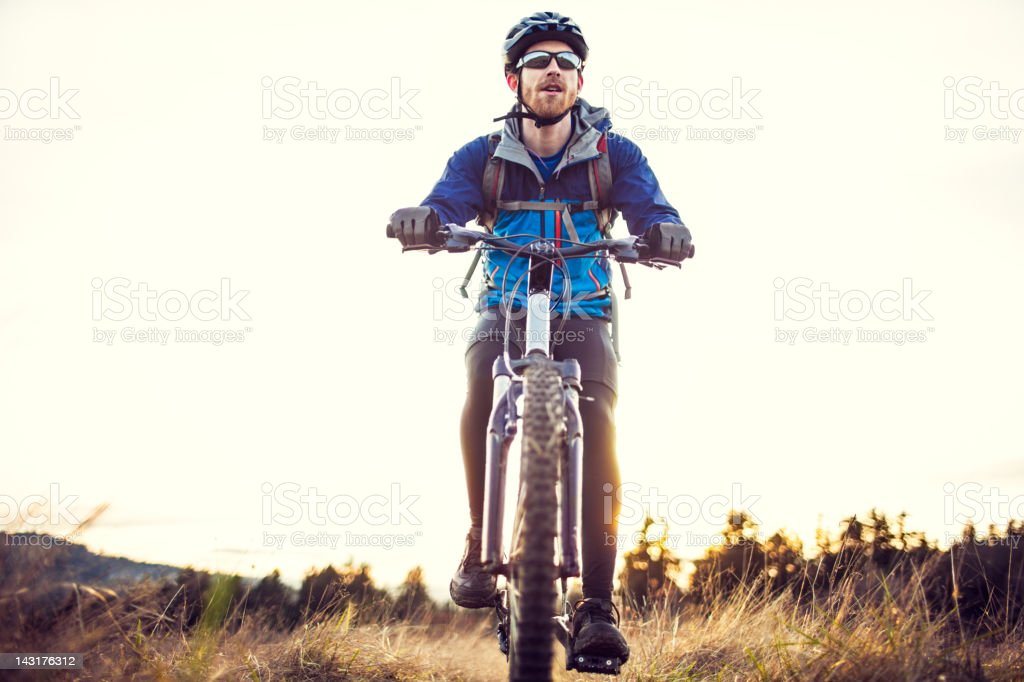Dusk Mountain Bike Trail Ride royalty-free stock photo