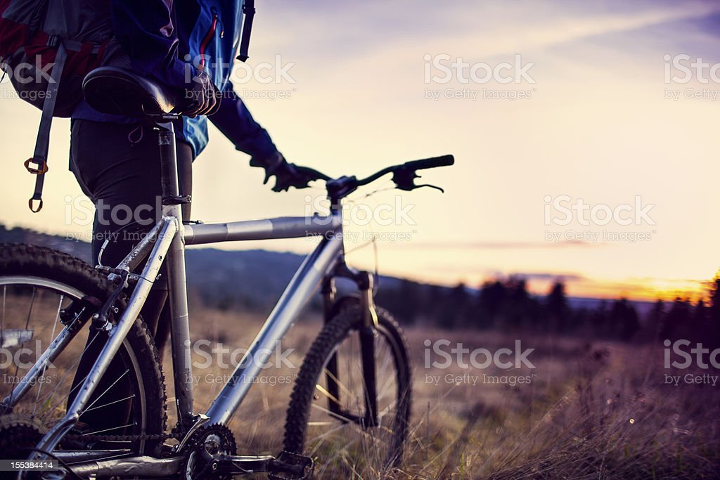 Dusk Mountain Bike Trail Ride stock photo