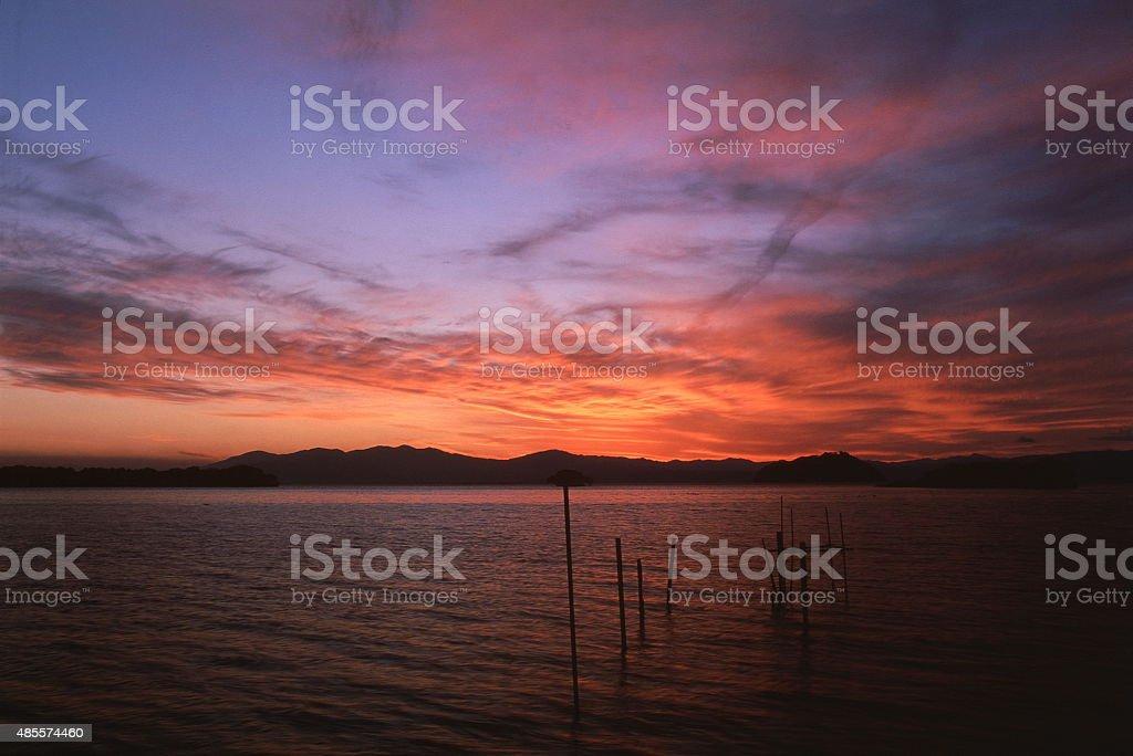 夕暮れの湖琵琶町 ロイヤリティフリーストックフォト