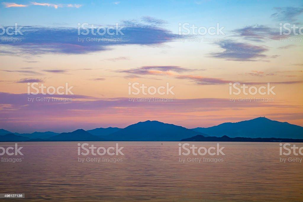 dusk of shenzhen bay stock photo