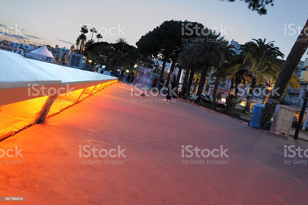 dusk on Cannes seafront royalty-free stock photo