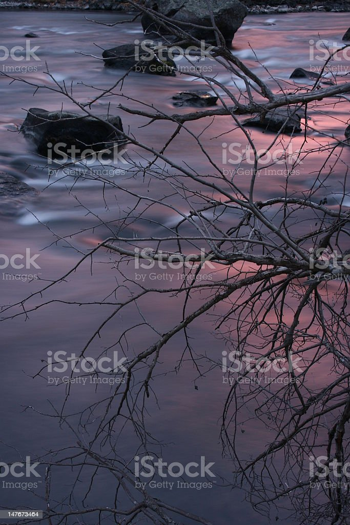 Dusk on Deschutes River royalty-free stock photo