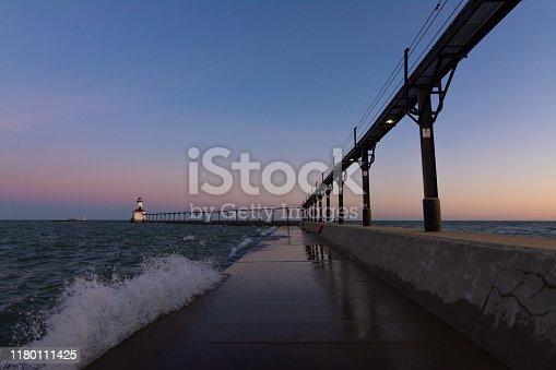 Michigan City Lighthouse at dawn.  Michigan City, Indiana, USA