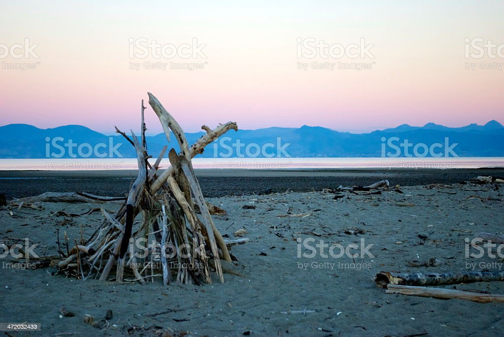 Dusk on Motueka Spit, Tasman, New Zealand stock photo