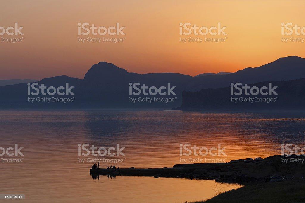 dusk on sea royalty-free stock photo