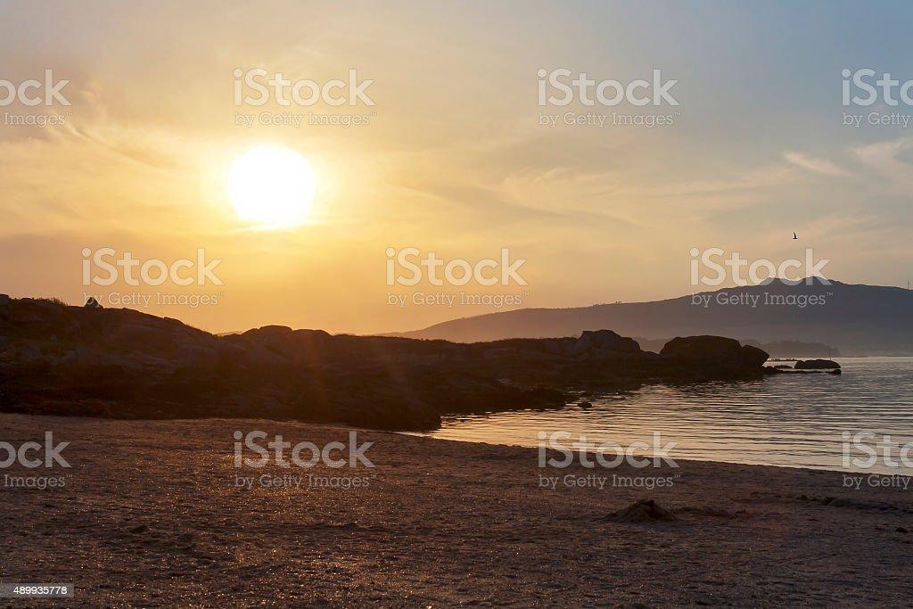 Dusk on the beach royalty-free stock photo