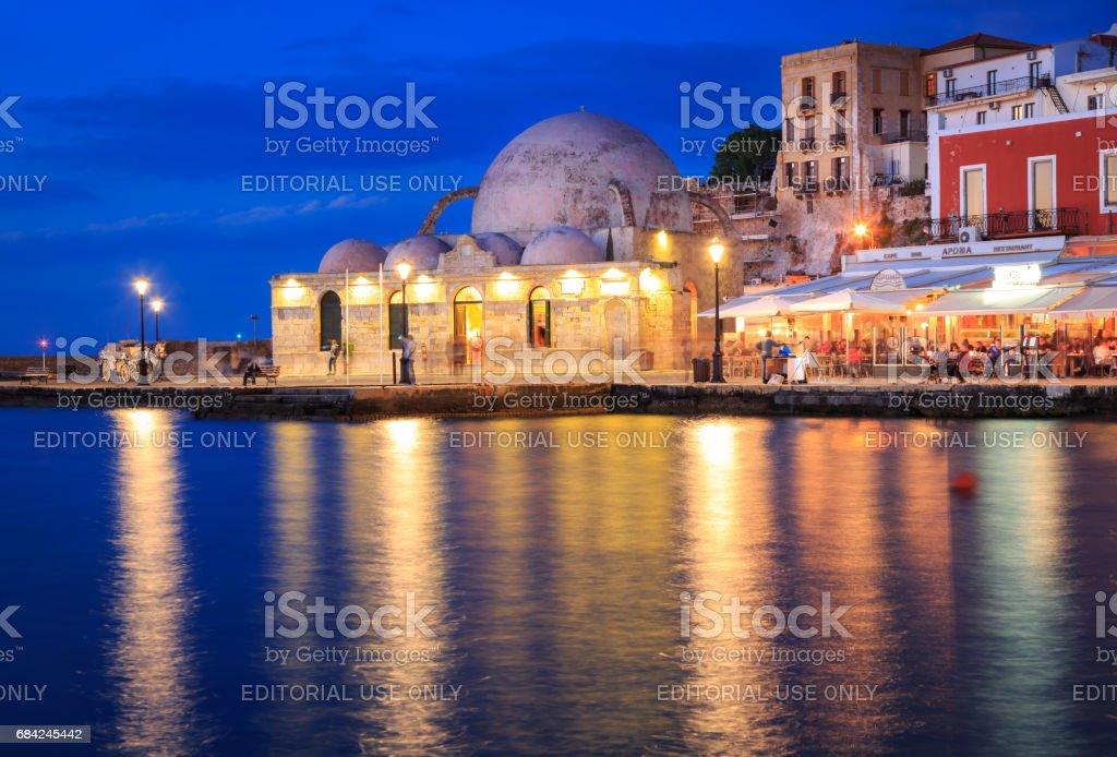 Coucher du soleil sur le vieux port vénitien de la Canée, Crète photo libre de droits