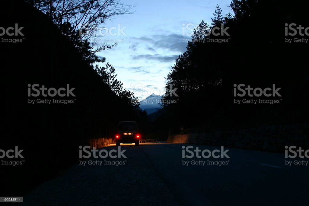 dusk on the road royalty-free stock photo