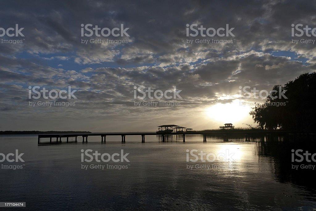 Dusk on the St. Johns River, Jacksonville, Florida stock photo