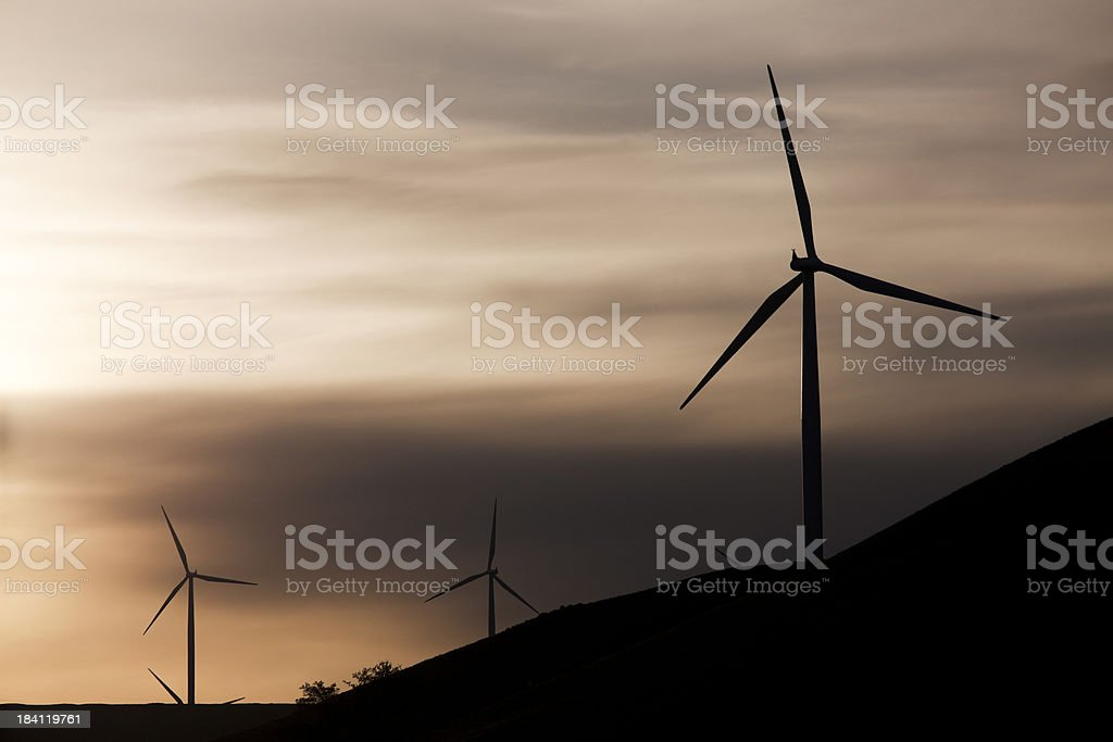 Dusk Over a Windmill Farm, Copy Space stock photo