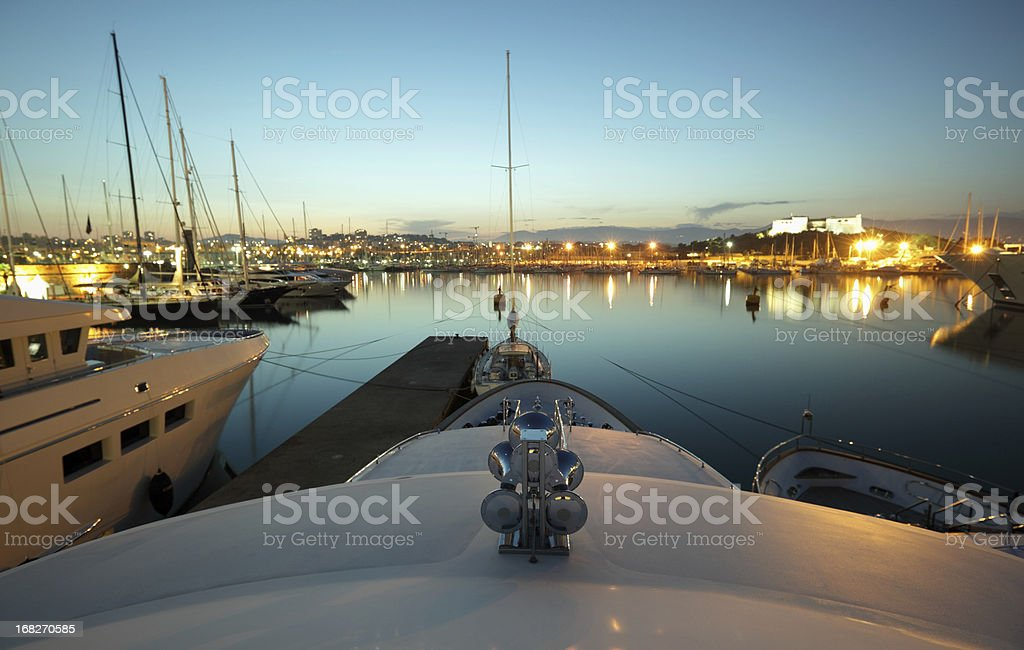 Dusk over Antibes harbour stock photo