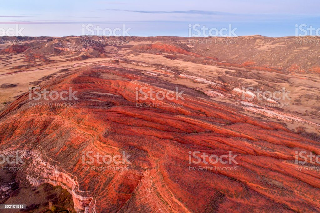 dusk over Colorado foothills stock photo
