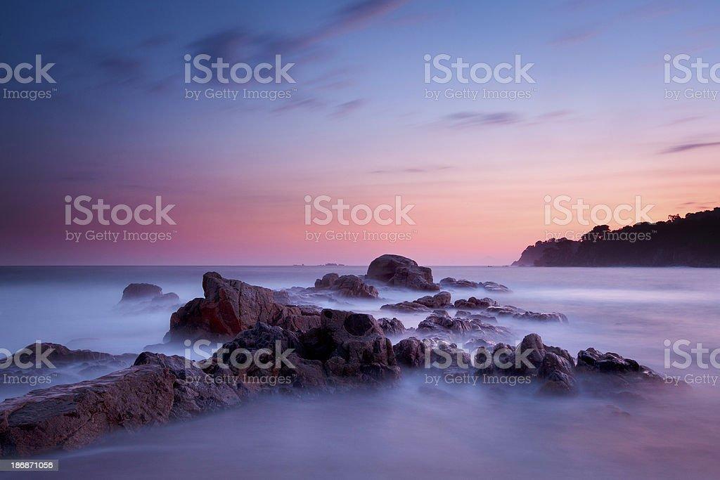 Dusk over Mediterranean Coast stock photo