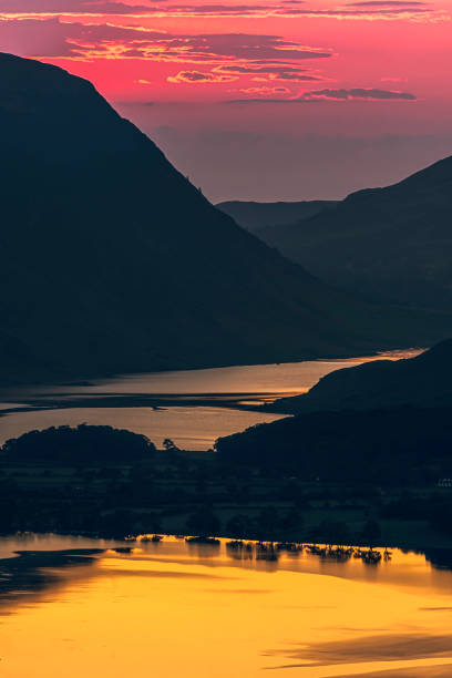 Dusk over mountain valley in Lake District. stock photo