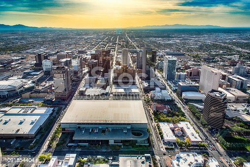 Nearing sunset flying over downtown Phoenix, Arizona from an altitude of about 1000 feet.