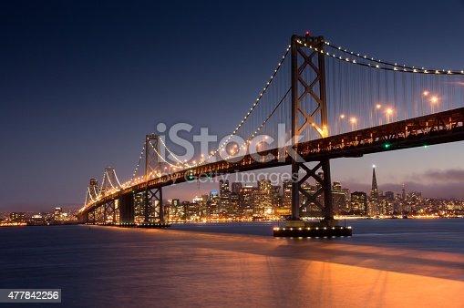 Dusk over San Francisco Bay Bridge and Skyline from Yerba Buena Island