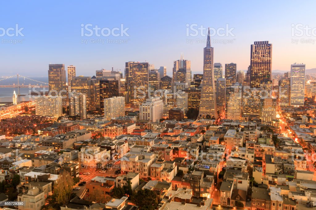 Dusk over San Francisco Downtown from top of Coit Tower in Telegraph Hill. stock photo