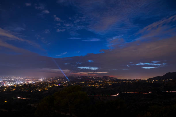Dusk over the Hollywood Hills stock photo