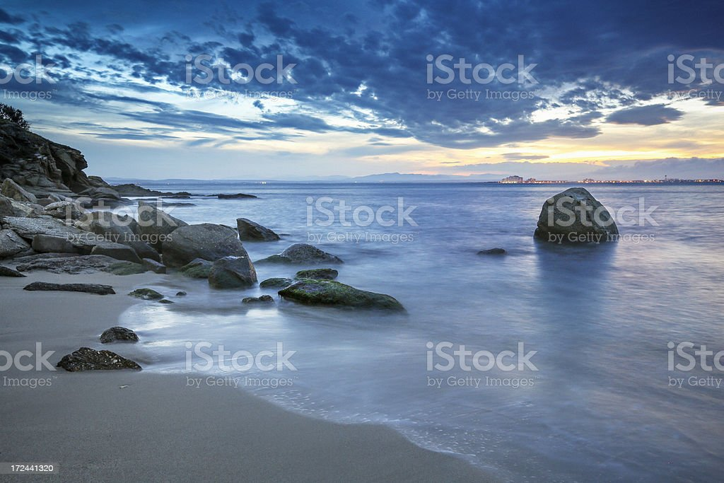 Dusk over the mediterranean sea royalty-free stock photo