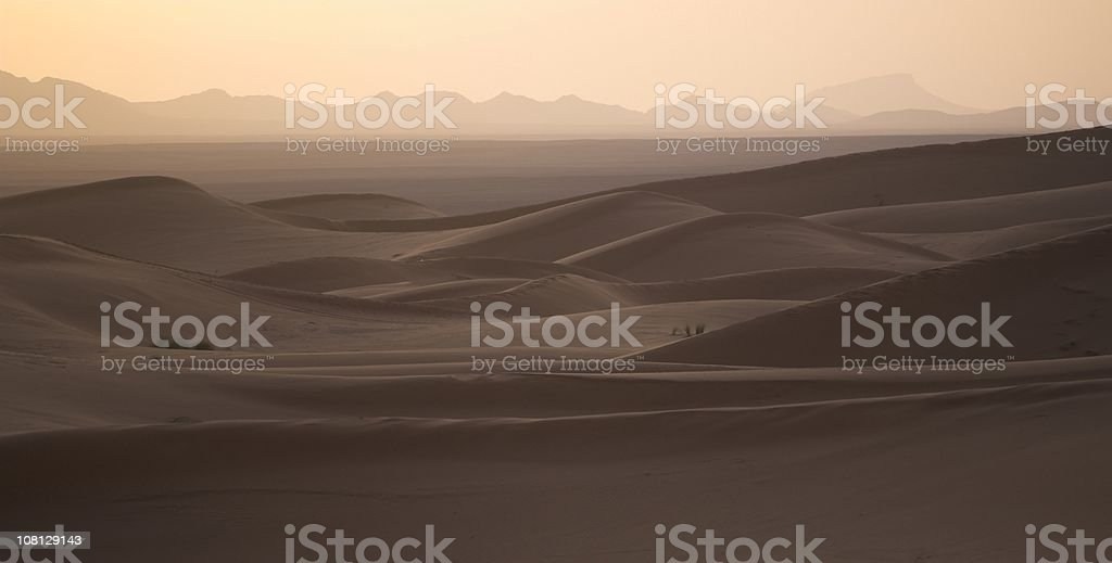 Dusk over the Sahara Desert, Morocco royalty-free stock photo