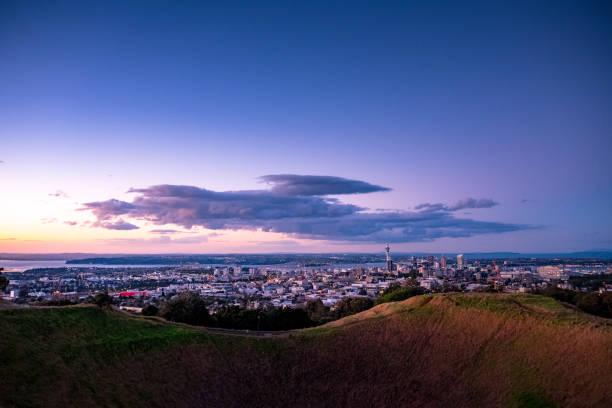 Dusk scene of Auckland City. stock photo