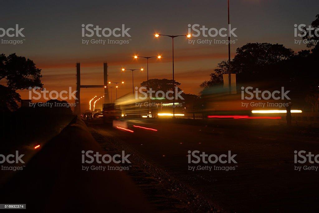 Dusk scene of Cable stayed bridge in KR puram Bengaluru stock photo