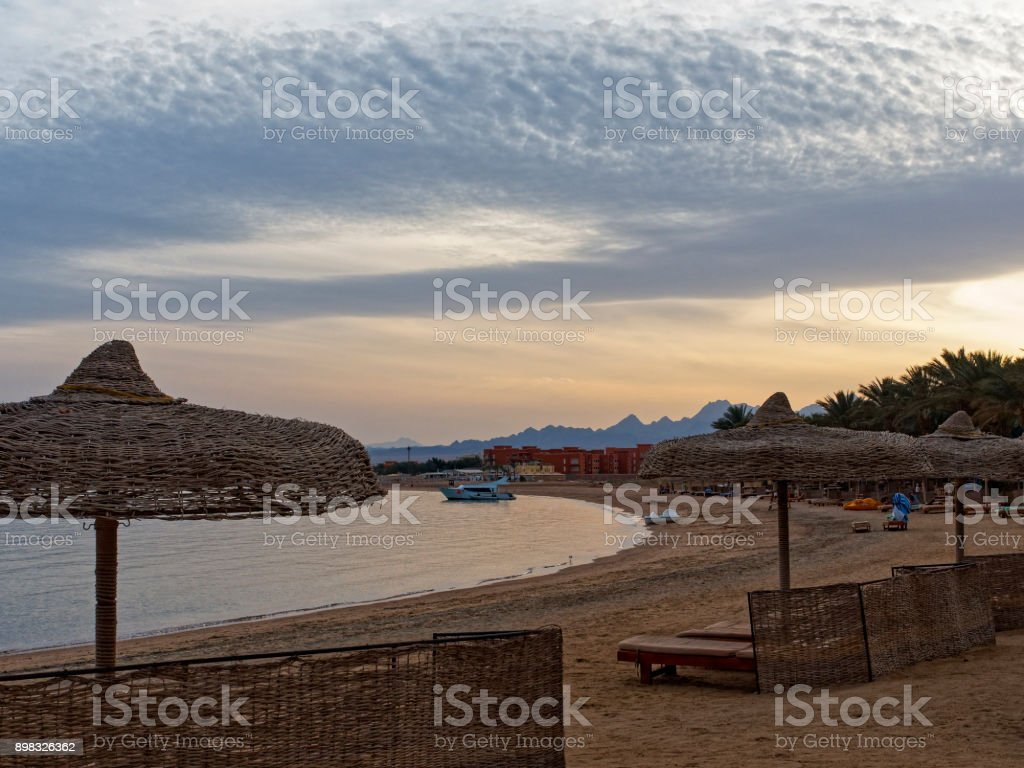 Dusk settles on the beach at Soma Bay stock photo