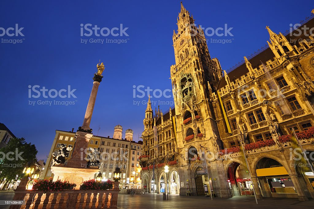 Dusk shot of Marienplatz Square in Munich stock photo
