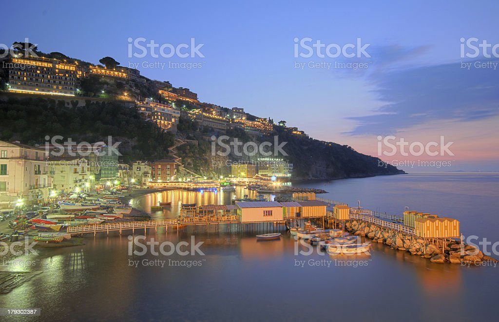 Dusk shot of Marina Grande, Sorrento stock photo