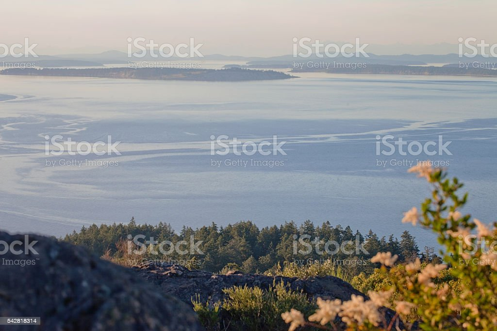 Dusk View from Mount Doug stock photo
