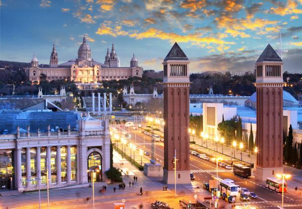 Dämmerungsansicht von Barcelona, Spanien. Plaza de Espana – Foto