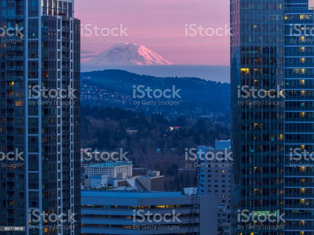 dusk view of cityscape of Bellevue,WA stock photo