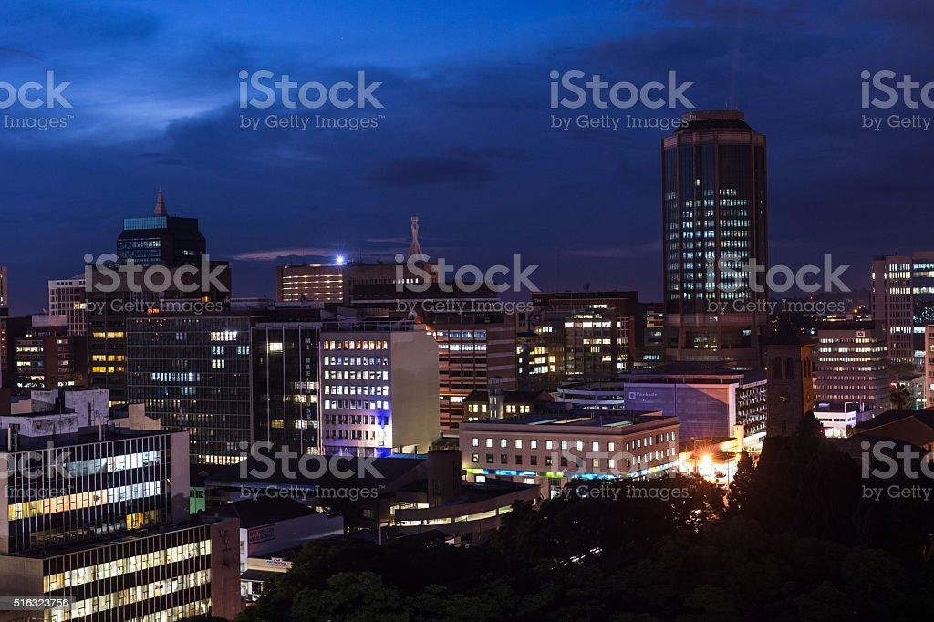 Dusk view of downtown Harare, Zimbabwe stock photo