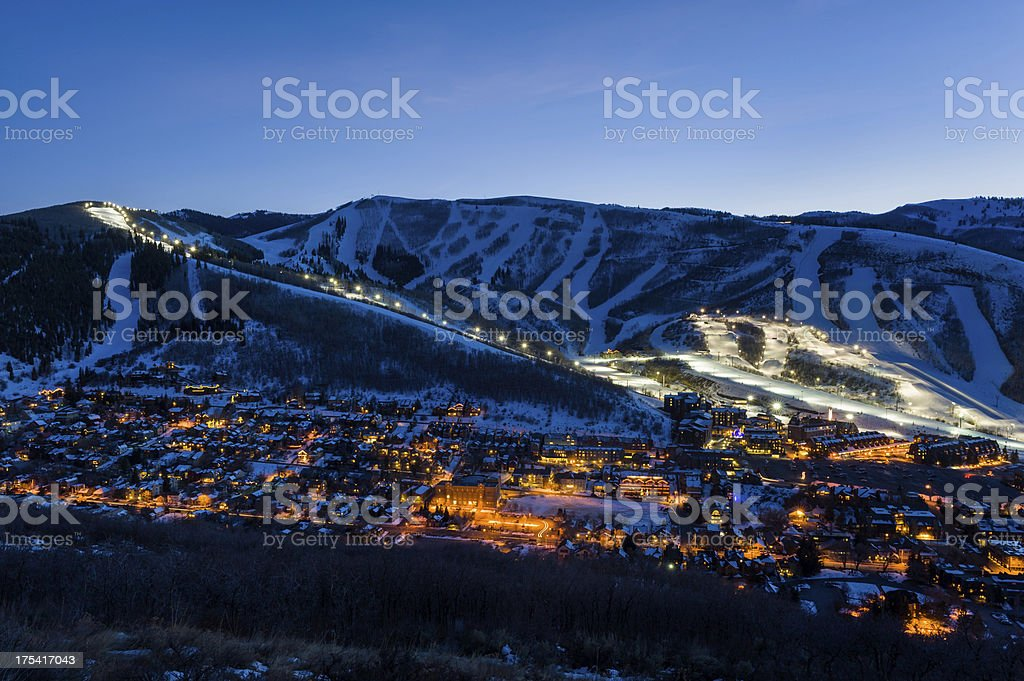 Dusk View of Park City Glowing stock photo
