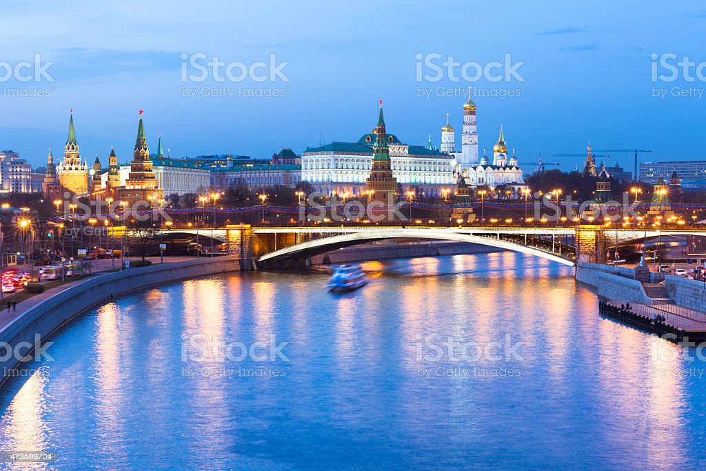 Dusk view of the Moscow Kremlin, Russia. stock photo