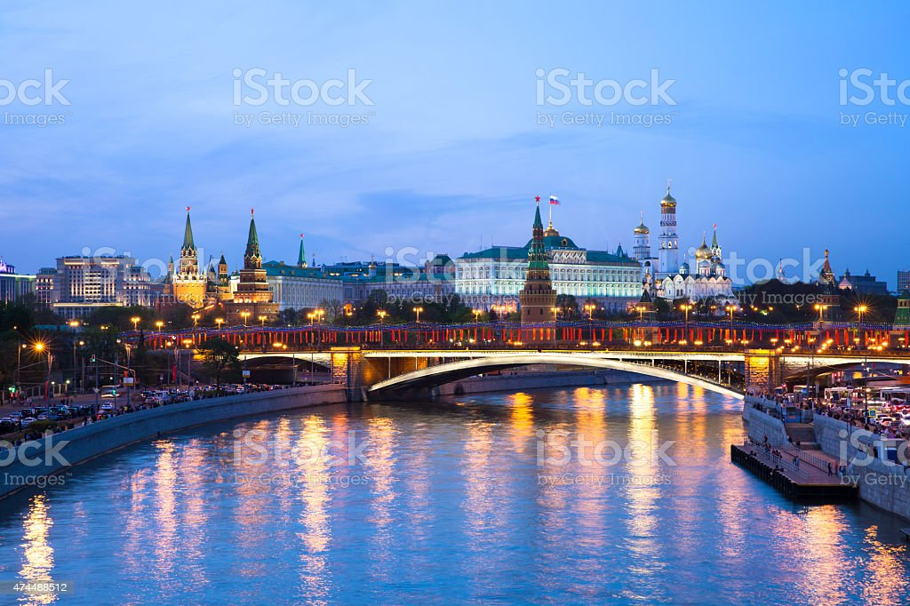 Dusk view of the Moscow Kremlin, Russia. royalty-free stock photo