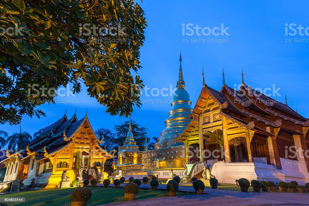 Dusk View of the Wat Phra Singh, Chiang Mai, Thailand stock photo