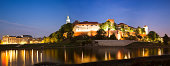 twilight panorama view of Wawel Royal Castle and Cathedral in Cracow (Krakow), Poland, Europe