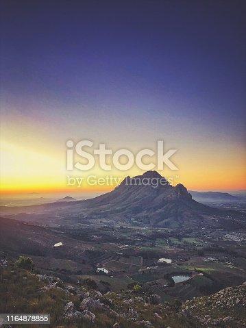 Beautiful Dusk sunset view over the Banghoek valley Paarl and Simonsberg Stellenbosch Cape Town South Africa